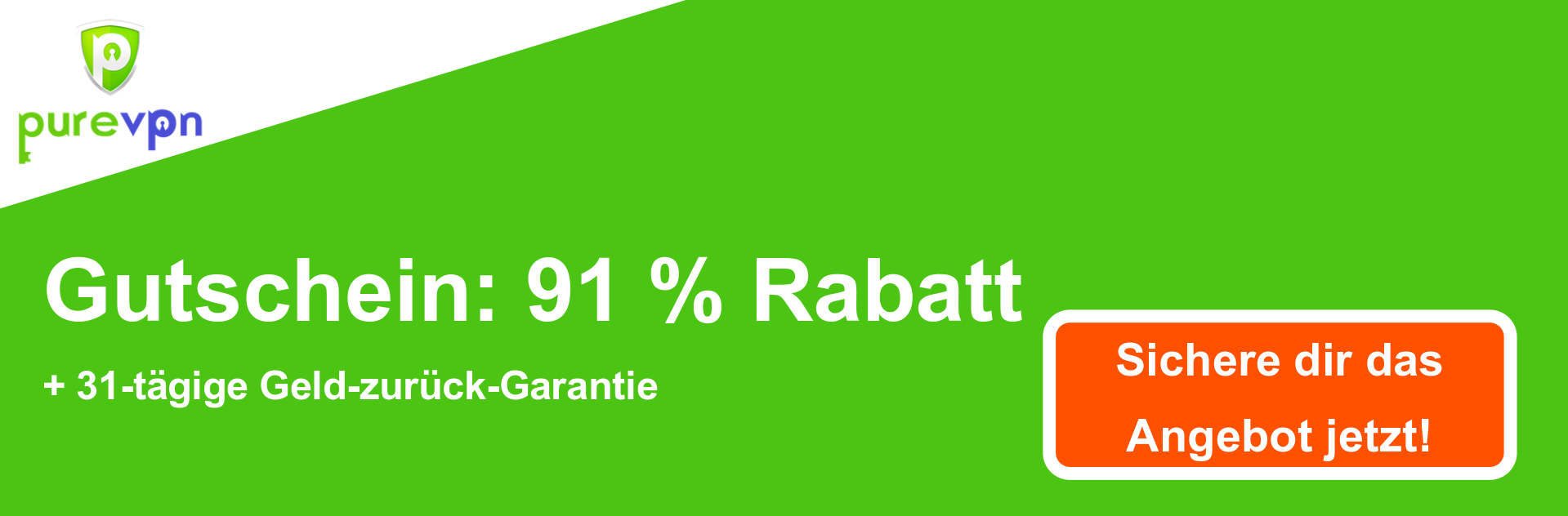 PureVPN Coupon Banner - 91% Rabatt
