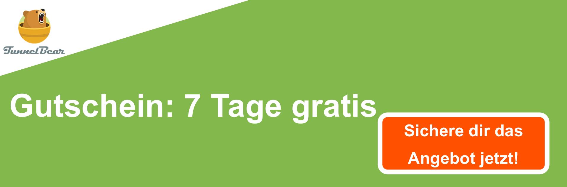 TunnelBear VPN Gutschein Banner - 7 Tage kostenlos