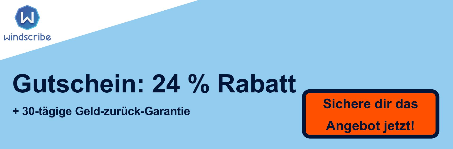 WindScribe VPN-Gutscheinbanner - 24% Rabatt