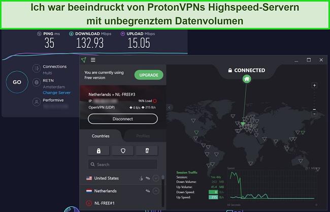 Screenshot des ProtonVPN-Geschwindigkeitstests.