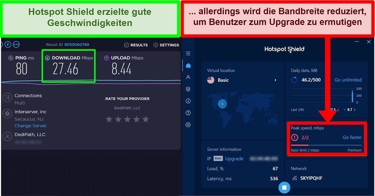 HotspotShield begrenzt die Geschwindigkeit, um Benutzer zum Abonnieren zu motivieren