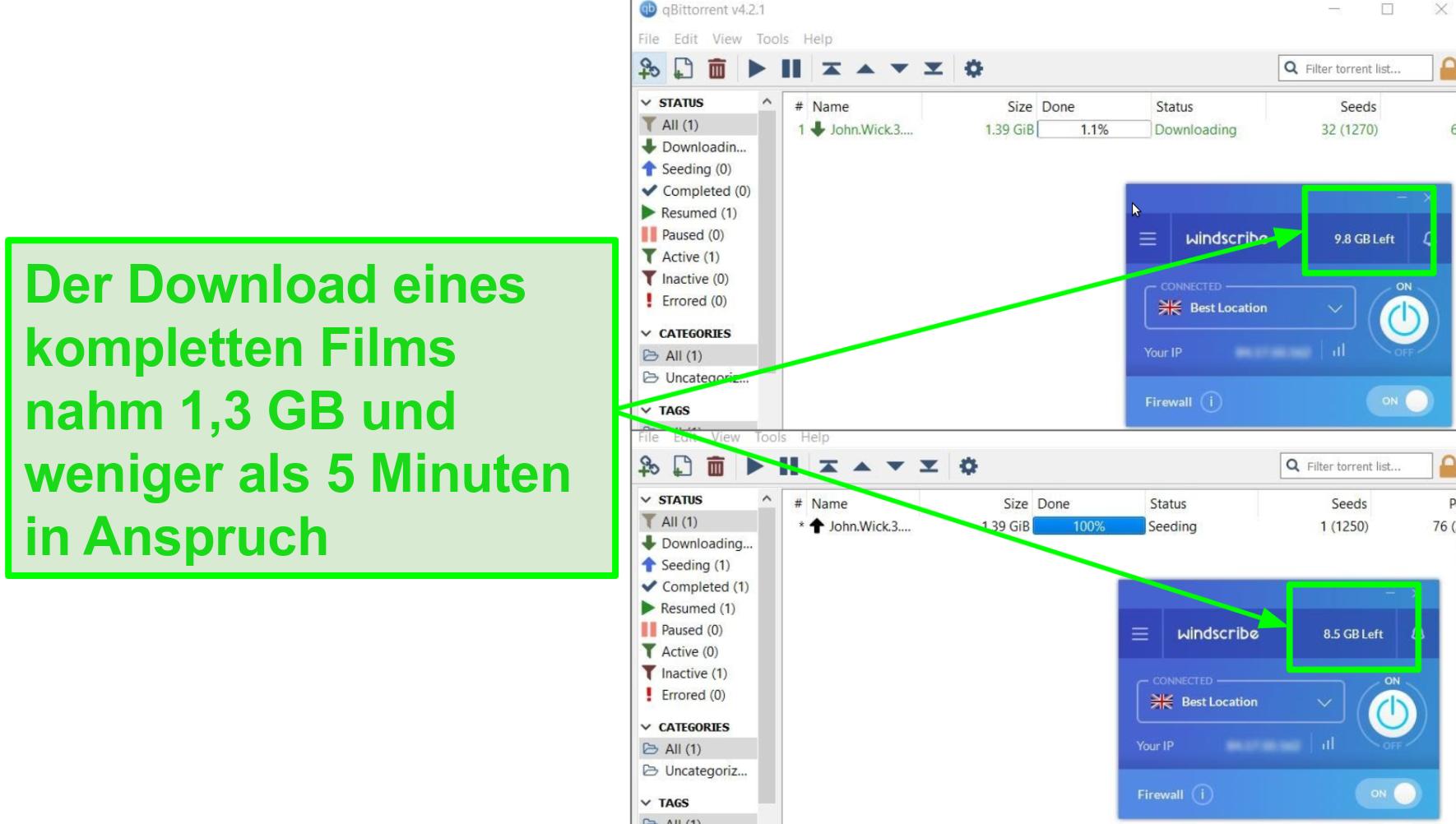 Der Screenshot zeigt die Download-Geschwindigkeit von Windscribe