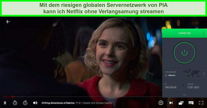 Screenshot von Chilling Adventures of Sabrina-Streaming, während PIA mit einem Server in Mexiko verbunden ist