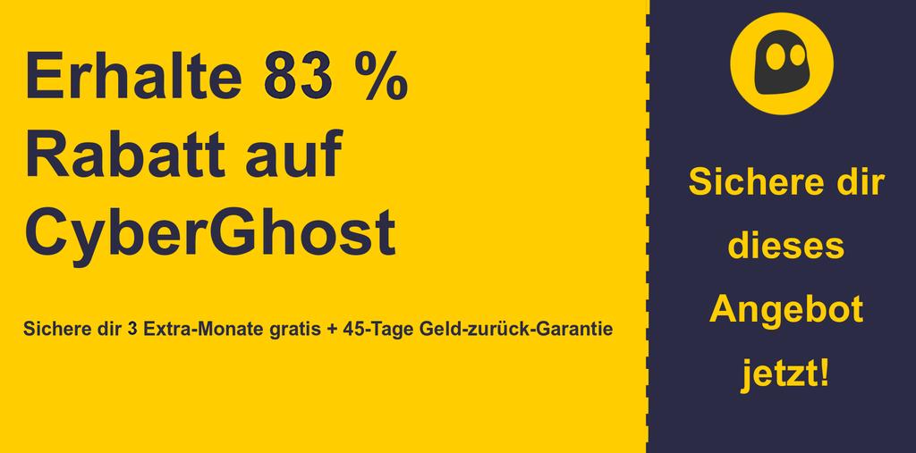 Grafik des CyberGhostVPN-Hauptcoupon-Banners mit 83% Rabatt