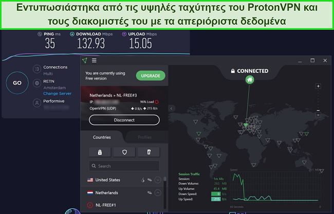 Στιγμιότυπο οθόνης δοκιμής ταχύτητας ProtonVPN.