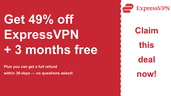 ExpressVPN coupon for 49% off and 3 months free with a 30-day money-back guarantee