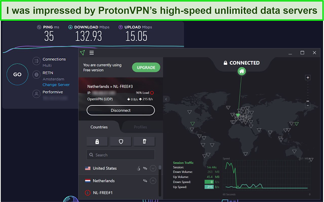Screenshot of ProtonVPN speed test.
