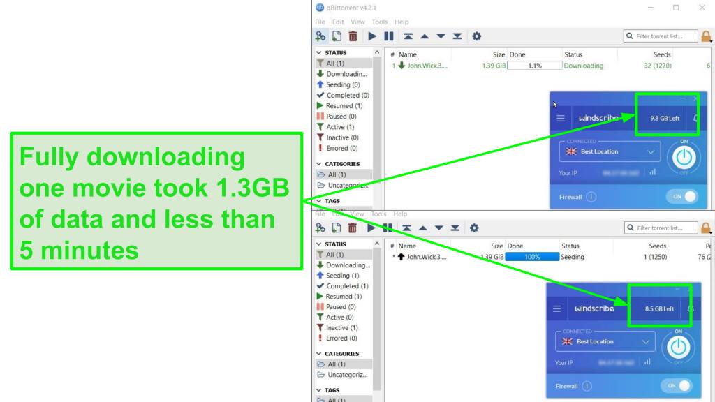 screenshot shows Windcribe's download speed