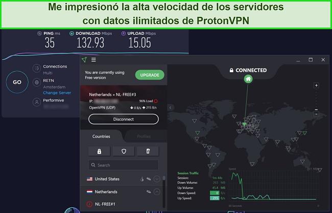 Captura de pantalla de la prueba de velocidad de ProtonVPN.
