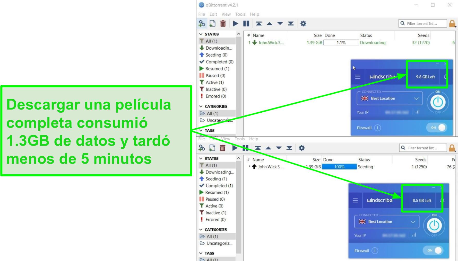 captura de pantalla muestra la velocidad de descarga de Windscribe
