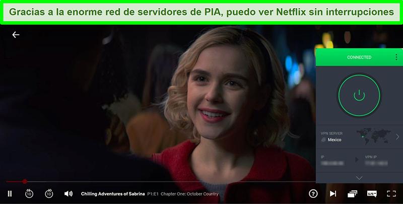 Captura de pantalla de Chilling Adventures of Sabrina transmitiendo mientras PIA está conectado a un servidor en México