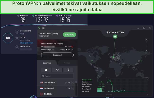 Näyttökuva ProtonVPN-nopeustestistä.