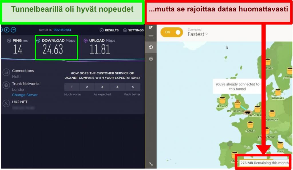 TunnelBearilla on hyvät nopeudet, mutta se rajoittaa käyttäjän tietoja