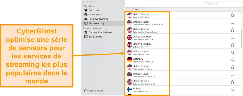 Capture d'écran de l'application CyberGhost pour Mac montrant les serveurs optimisés pour le streaming