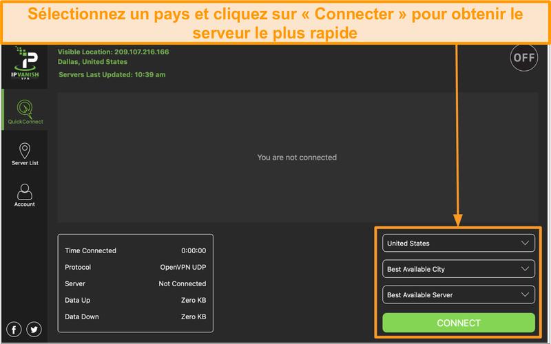 Capture d'écran de l'interface de l'application IPVanish et de la section
