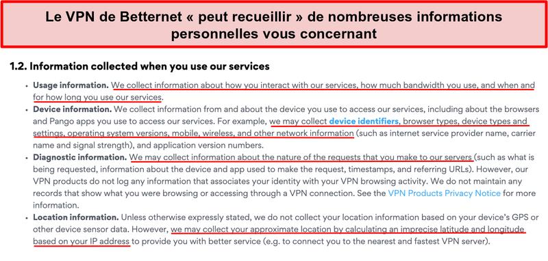 Capture d'écran de la politique de confidentialité de Betternet VPN