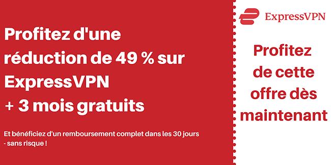 Coupon ExpressVPN pour 49% de réduction et 3 mois gratuits avec une garantie de remboursement de 30 jours