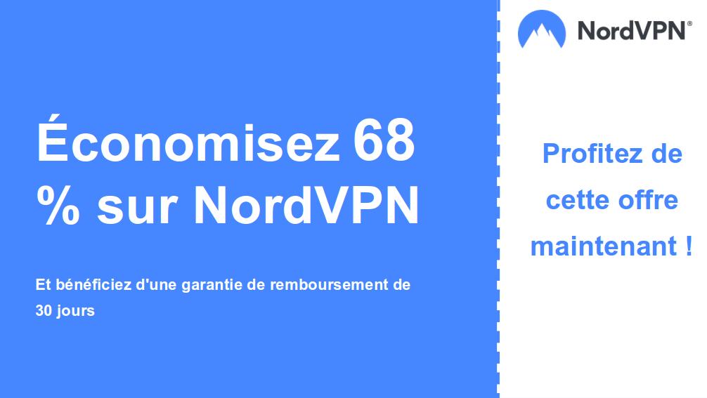 graphique de la bannière du coupon principal Nordvpn montrant 68% de réduction