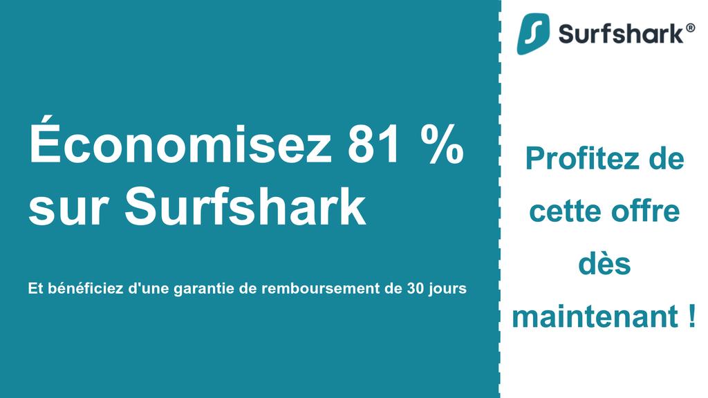 Graphique de la bannière principale du coupon Surfshark VPN affichant 2,49 $ par mois