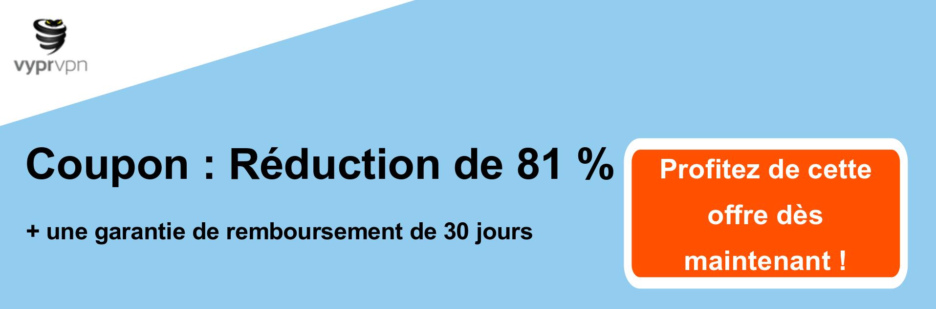 Bannière de coupons VPN Vypr - 81% de réduction