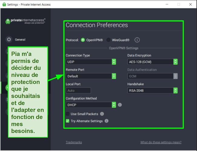 Capture d'écran des paramètres de sécurité PIA disponibles