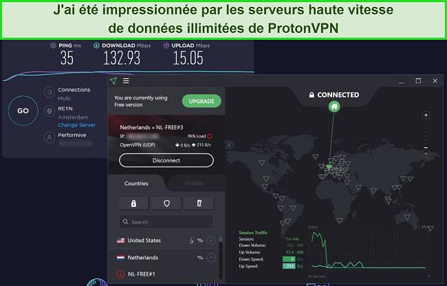 Capture d'écran du test de vitesse ProtonVPN.