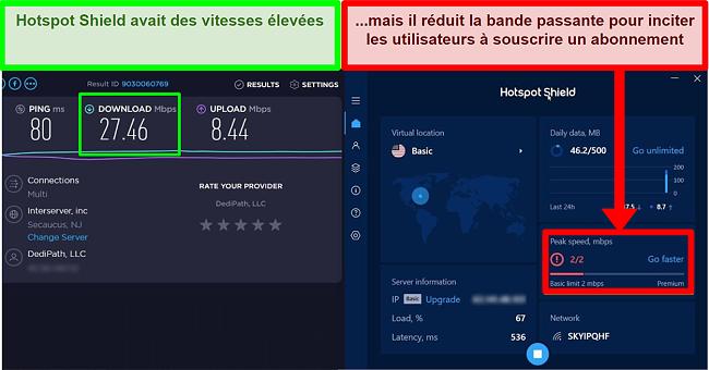 HotspotShield limite la vitesse pour motiver les utilisateurs à s'abonner