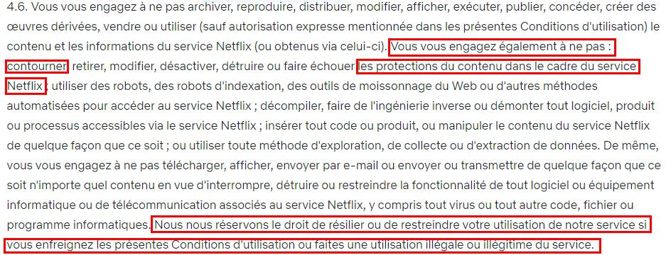 Points saillants des conditions d'utilisation de Netflix