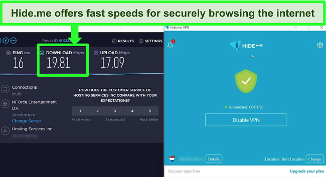 Screenshot of Hide.me VPN connected to a server in the Netherlands and speed test results