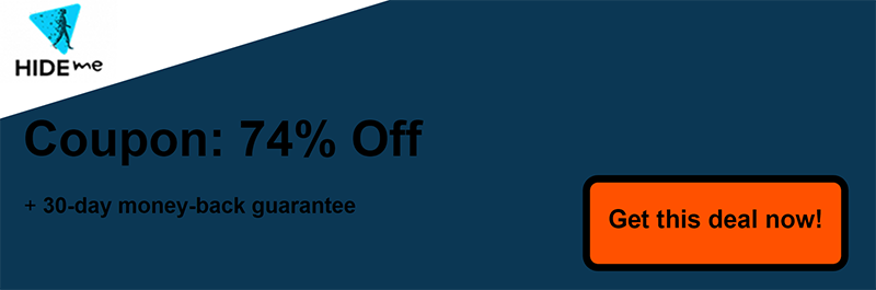 74% off Hide.me Coupon Banner