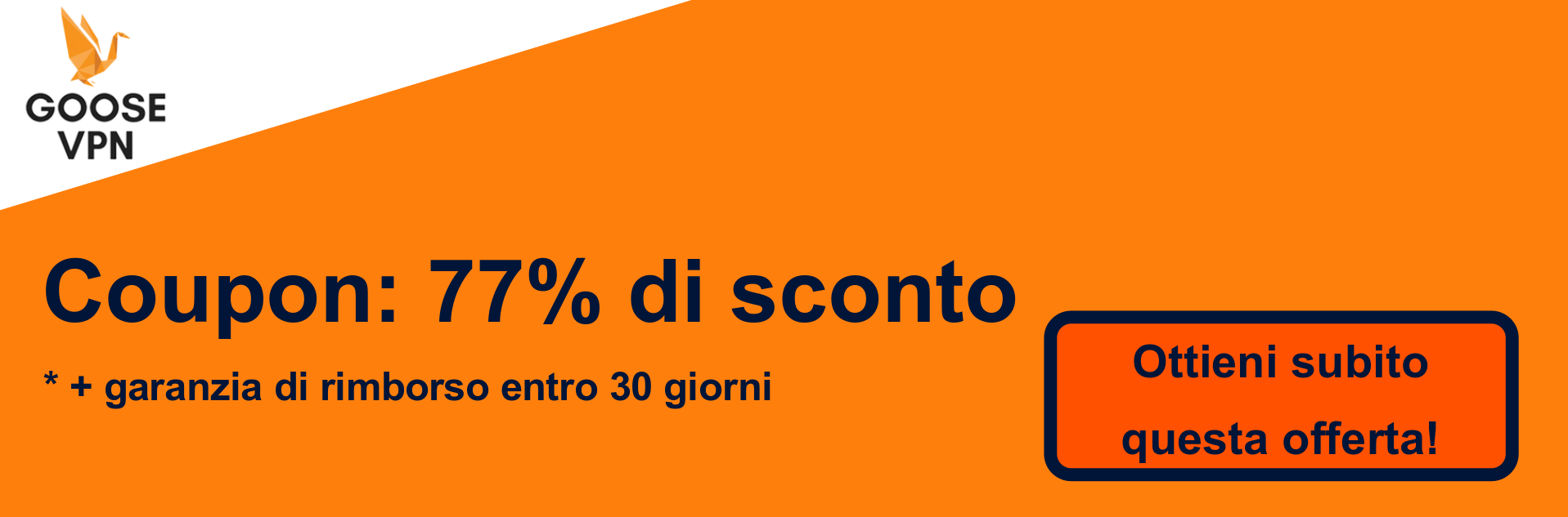 Banner coupon GooseVPN - 77% di sconto