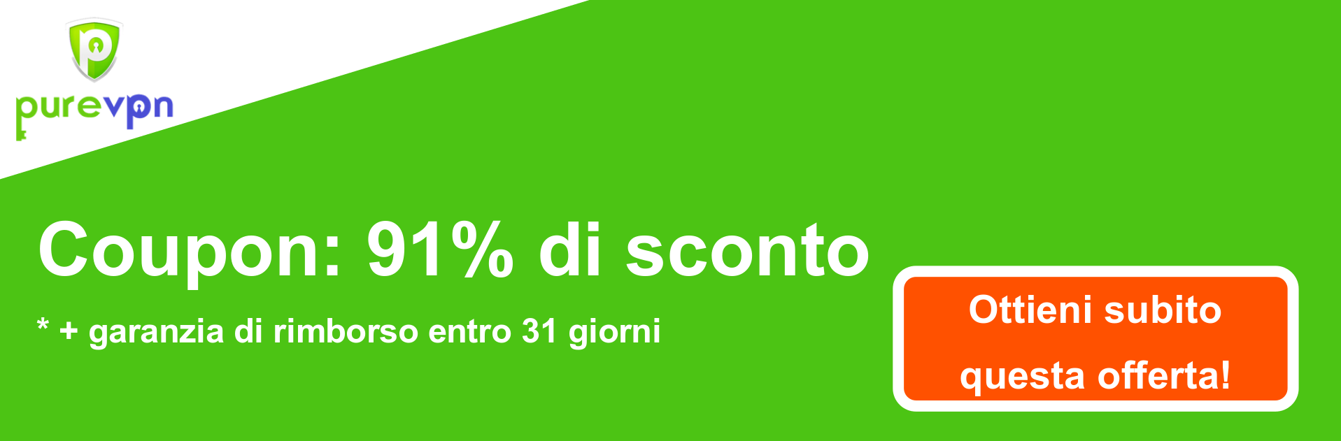 Banner coupon PureVPN - 91% di sconto