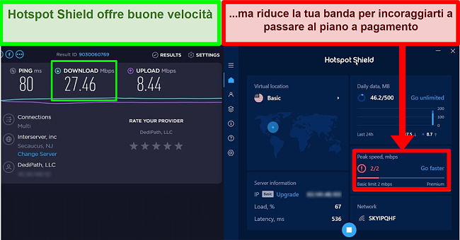 HotspotShield limita la velocità per motivare gli utenti a iscriversi