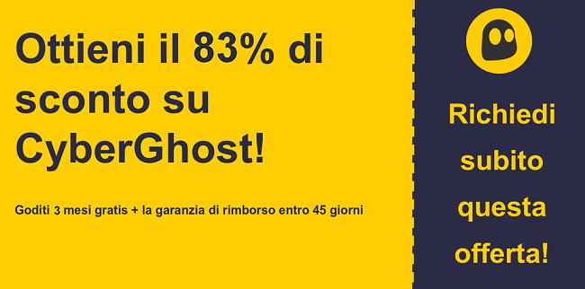 grafico del banner coupon principale di CyberGhostVPN con 83% di sconto