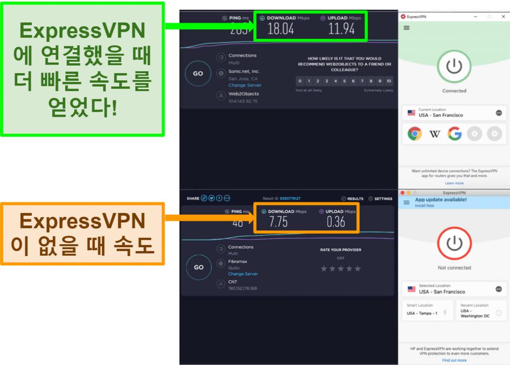 미국 서버에 연결했을 때 ExpressVPN 속도가 향상되었습니다