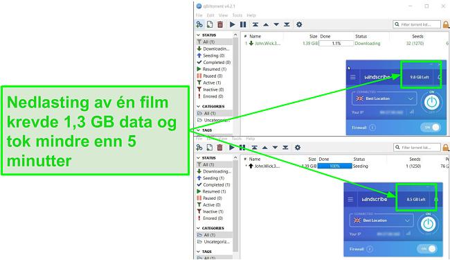 skjermbilde viser Windscribes nedlastningshastighet