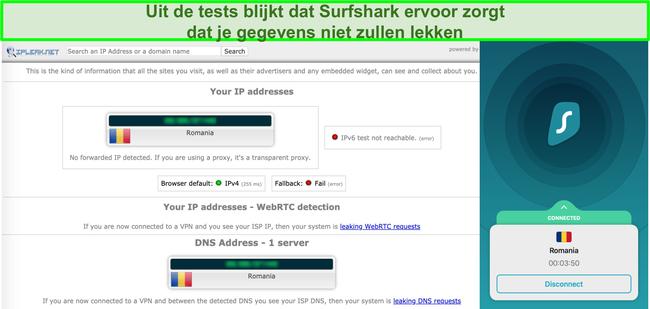 Schermafbeelding die laat zien dat Surfshark geslaagd is voor IP-, DNS- en WebRTC-lektests
