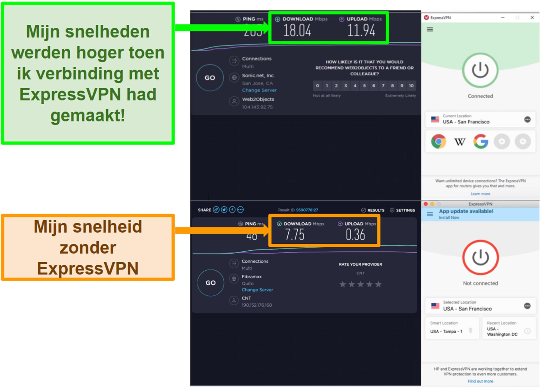 ExpressVPN verbeterde mijn snelheid bij verbinding met een Amerikaanse server