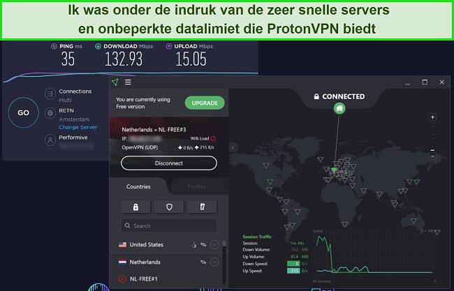 Screenshot van de snelheidstest van ProtonVPN.