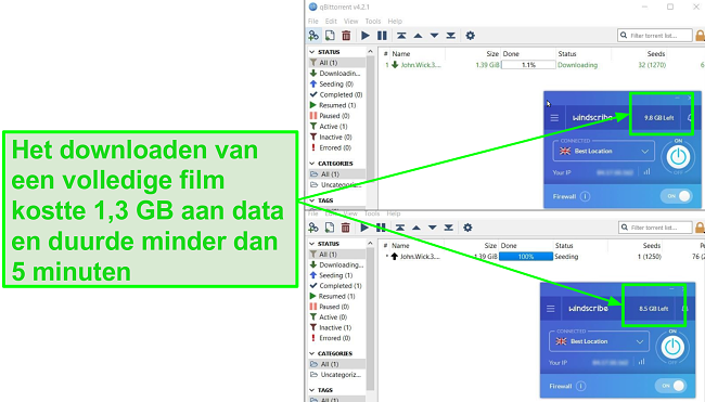 screenshot toont de downloadsnelheid van Windscribe