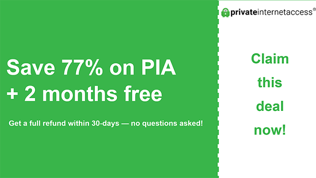 graphic of pia main coupon banner showing 77% off