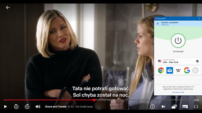 """zrzut ekranu """"Grace And Frankie"""" grającej w serwisie Netflix z ExpressVPN"""