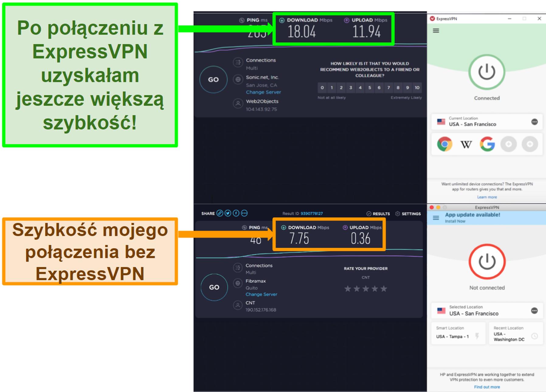 ExpressVPN poprawił moją prędkość po podłączeniu do serwera w USA