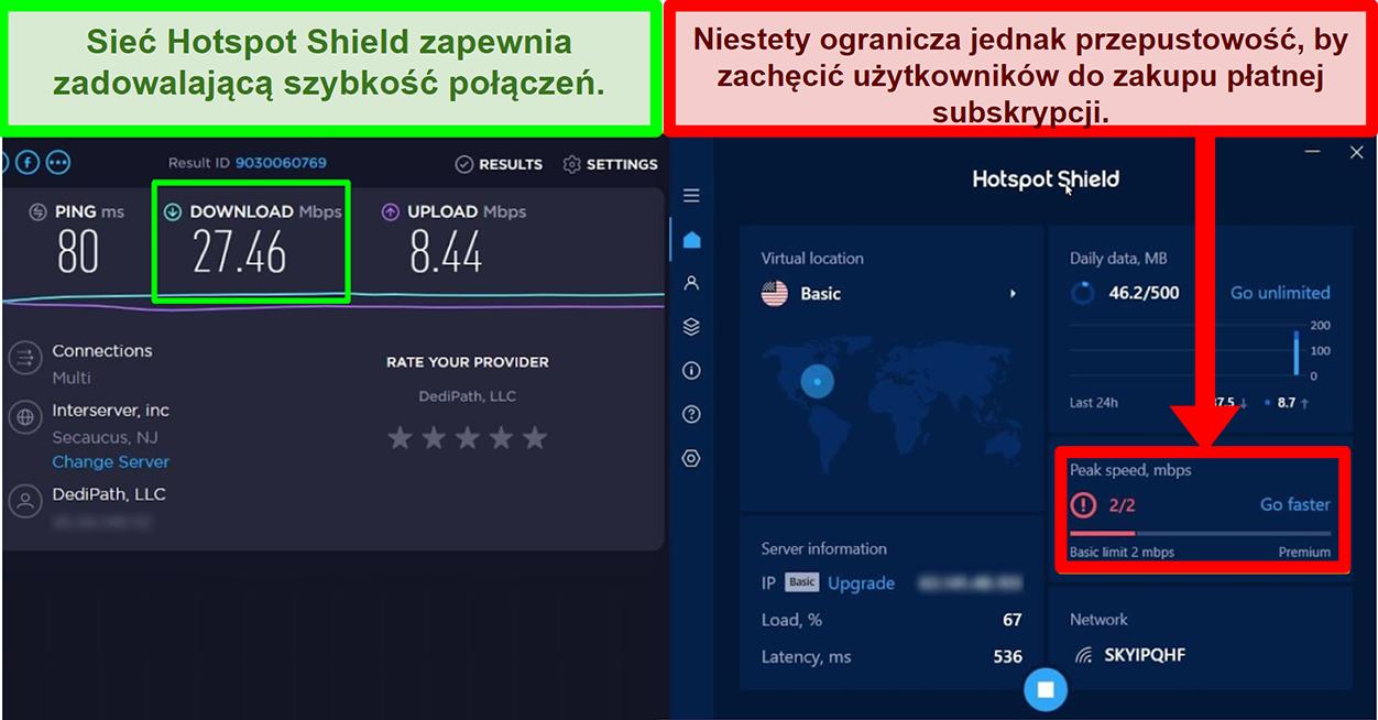 HotspotShield ogranicza szybkość motywowania użytkowników do subskrypcji