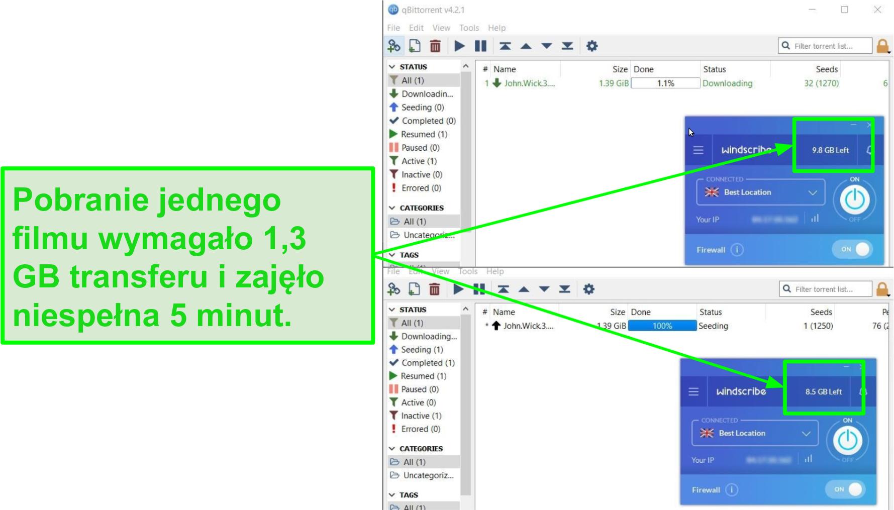 zrzut ekranu pokazuje prędkość pobierania Windscribe