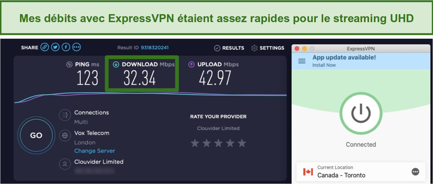Screenshot of ExpressVPN speediest results