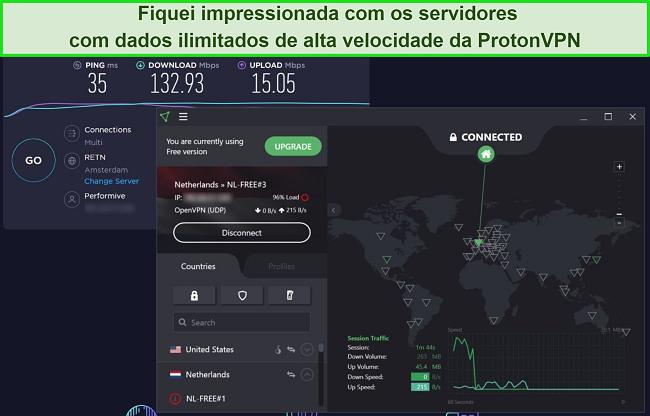 Captura de tela do teste de velocidade ProtonVPN.