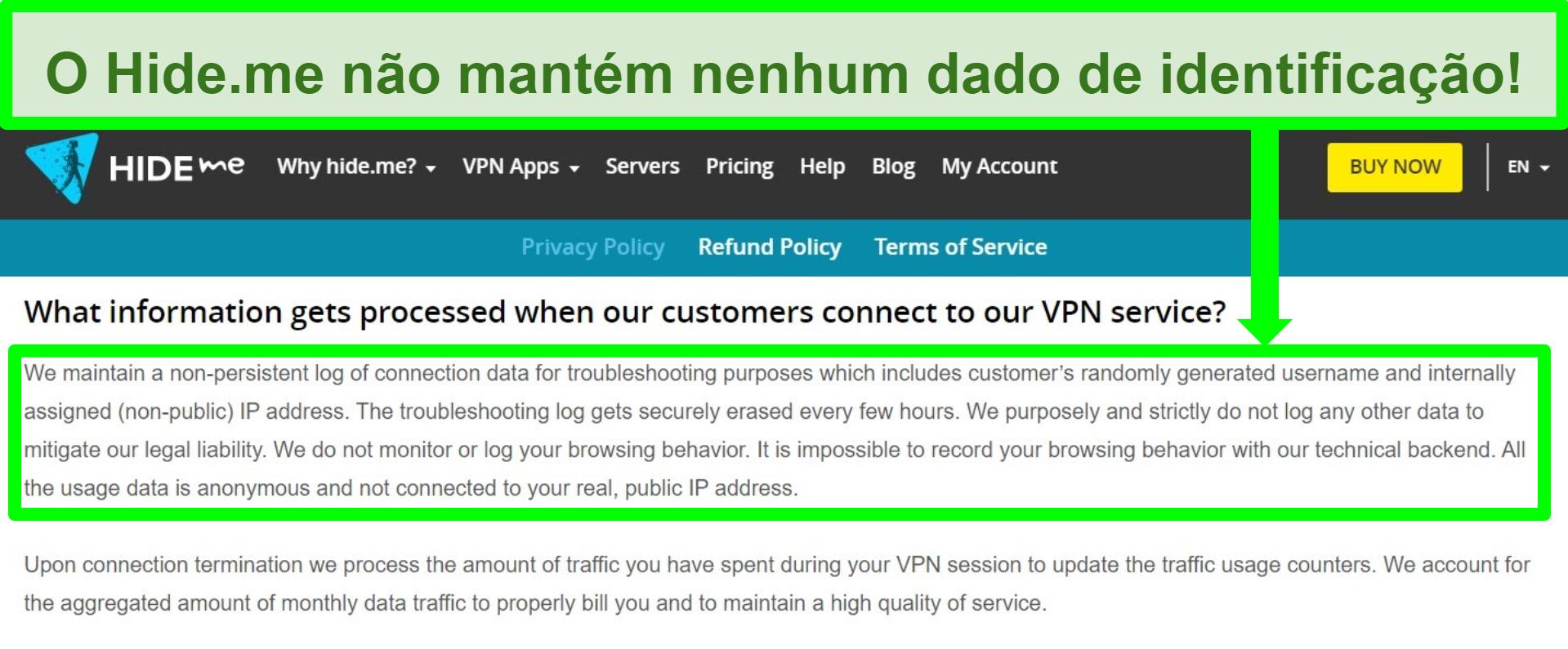 Captura de tela da política de privacidade do Hide.me