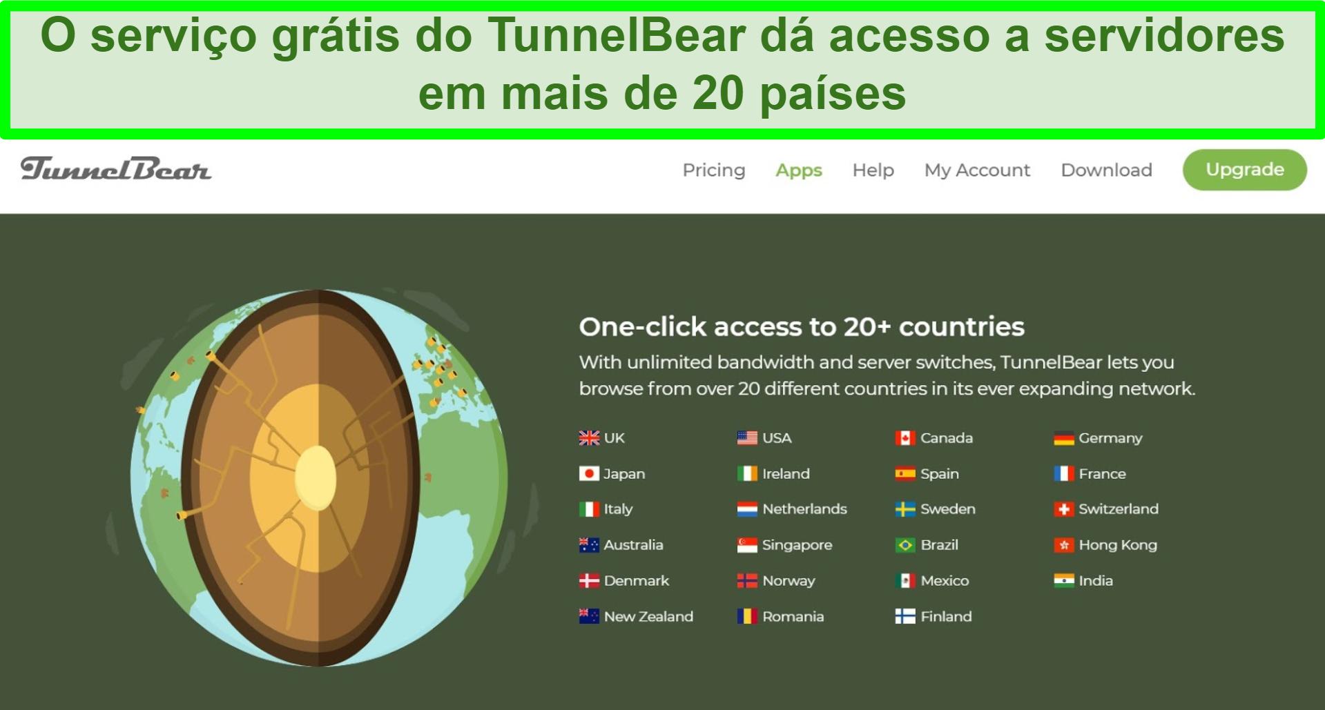 Captura de tela do site TunnelBear detalhando os locais do servidor