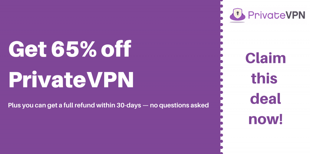 graphic of a coupon for 65% off privatevpn with 30-days money-back guarantee